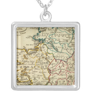 Ireland with boundaries outlined square pendant necklace