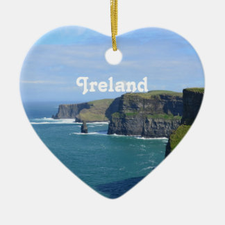 Ireland's Cliffs of Moher Double-Sided Heart Ceramic Christmas Ornament
