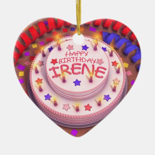 Irenes Birthday Cake Double-Sided Heart Ceramic Christmas Ornament ...