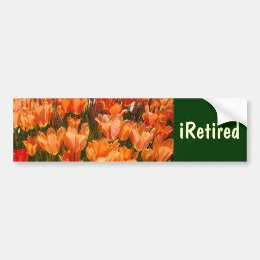 iRetired bumper stickers Retirement Tulip Flowers