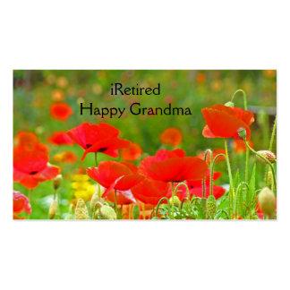 iRetired Grandma Business Cards Retirement Poppies