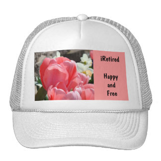 iRetired Hats Pink White Happy Free Retired Spring