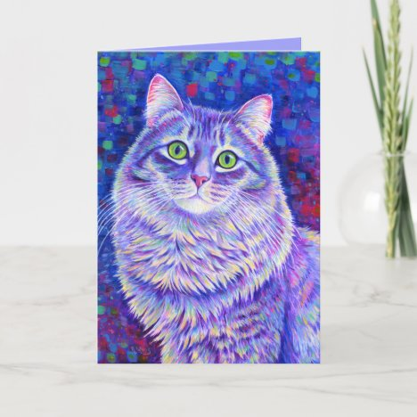 Iridescence Colorful Gray Tabby Cat Greeting Card