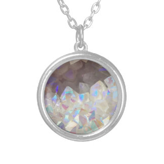 Iridescent Aura Crystals Silver Plated Necklace