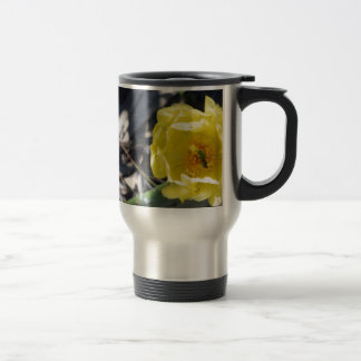 iridescent bee on nopales flower travel mug