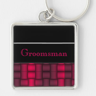 Iridescent Blocks (Fuschia) (Wedding) Keychain
