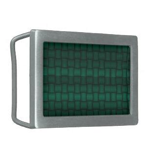 Iridescent Blocks (Green) Rectangular Belt Buckle