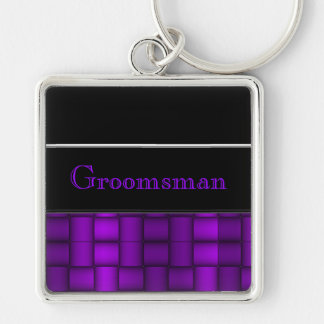Iridescent Blocks (Purple) (Wedding) Keychain