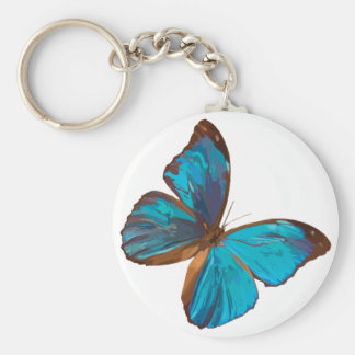 Iridescent Blue Butterfly Basic Keychain