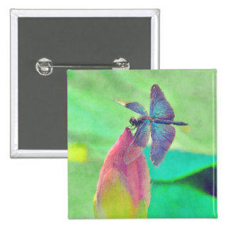 Iridescent Blue Dragonfly on Waterlily Button
