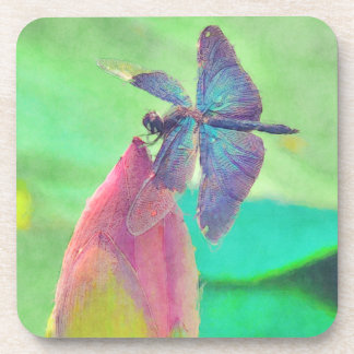 Iridescent Blue Dragonfly on Waterlily Drink Coaster