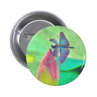 Iridescent Blue Dragonfly on Waterlily Pinback Button