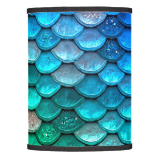 Iridescent Blue Green Glitter Mermaid Fish Scales Lamp Shade