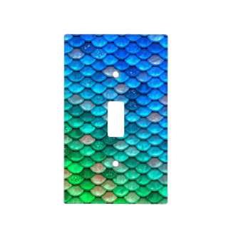 Iridescent Blue Green Glitter Mermaid Fish Scales Light Switch Cover