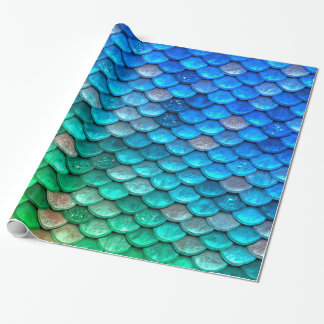 Iridescent Blue Green Glitter Mermaid Fish Scales Wrapping Paper
