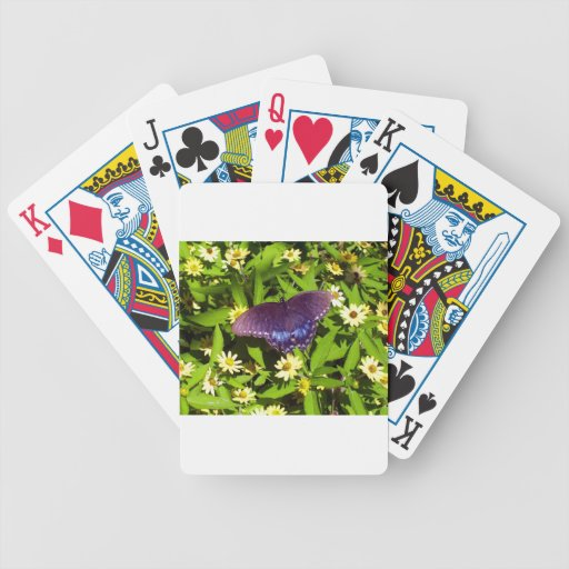 Iridescent Blue Purple with Black Butterfly Wings Bicycle Playing Cards