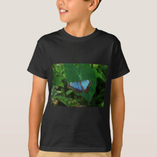 Iridescent Blue with Black Butterfly Wings T-Shirt