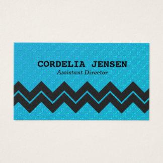 Iridescent Blue Zigzag Stripe Business Cards