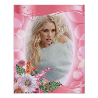 Iridescent Bokeh PInk & Pretty Flowers - DIY Photo Poster