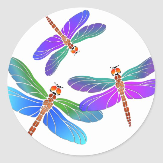 Iridescent Dive Bombing Dragonflies Classic Round Sticker