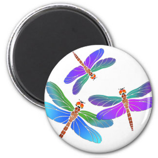 Iridescent Dive Bombing Dragonflies Magnet