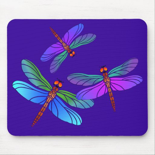 Iridescent Dive Bombing Dragonflies Mouse Pad