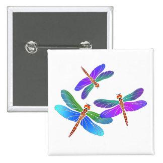 Iridescent Dive Bombing Dragonflies Pinback Button
