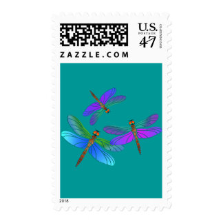 Iridescent Dive Bombing Dragonflies Postage