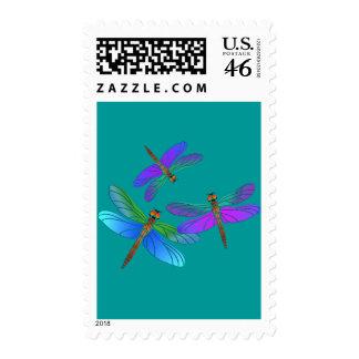Iridescent Dive Bombing Dragonflies Postage Stamp