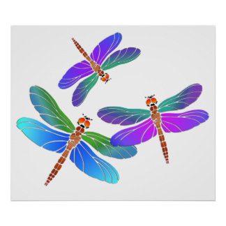 Iridescent Dive Bombing Dragonflies Print