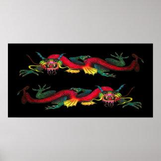 Iridescent Double Dragon poster print