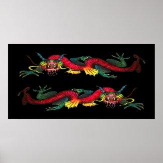 Iridescent Double Dragon poster print / canvas print
