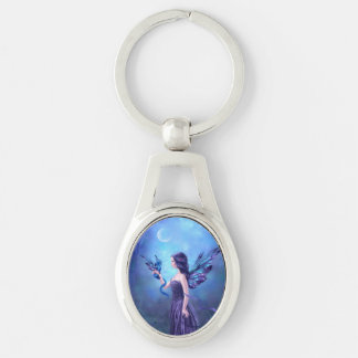 Iridescent Dragon & Fairy Art Oval Keychain