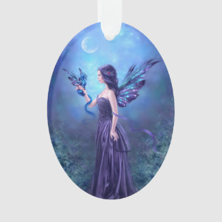 Iridescent Dragon & Fairy Art Oval Ornament