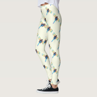 iridescent dragonflies white leggings