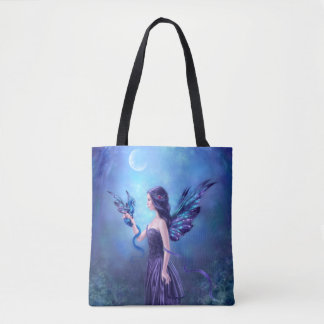 Iridescent Fairy & Dragon All Over Print Tote Bag