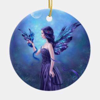 Iridescent Fairy & Dragon Art Cermic Oval Ornament