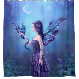 Charming Iridescent Fairy U0026 Dragon Art Shower Curtain