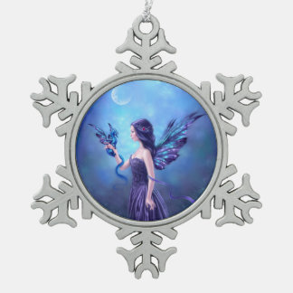 Iridescent Fairy & Dragon Art Snowflake Ornament