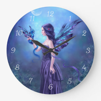 Iridescent Fairy & Dragon Art Wall Clock