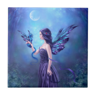 Iridescent Fairy & Dragon Ceramic Art Tile