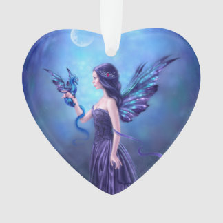 Iridescent Fairy & Dragon Heart Shaped Ornament