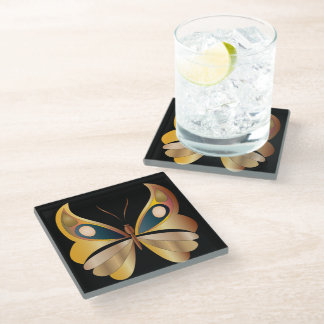"""Iridescent Faux Golden Butterfly for """"Air/East"""" 2 Glass Coaster"""