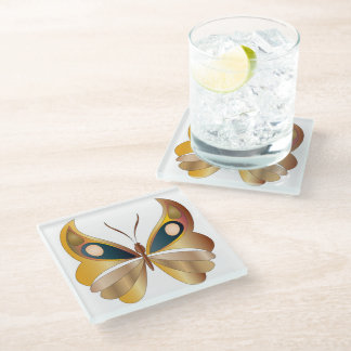 """Iridescent Faux Golden Butterfly for """"Air/East"""" Glass Coaster"""