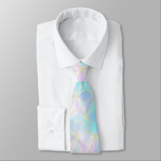 Iridescent Glass Geometric Pattern Neck Tie