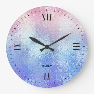Iridescent glass ombre blue to rose-gold large clock