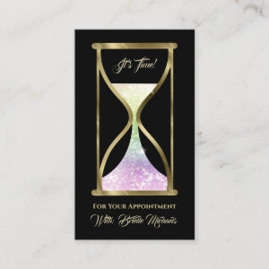 Iridescent Glitter Hourglass Hair and Makeup Appointment Card