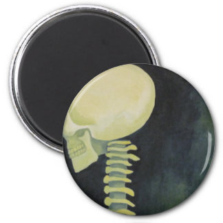 iridescent glowing skull and spinal cord refrigerator magnets
