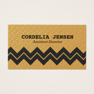 Iridescent Gold Zigzag Stripe Business Cards