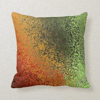 Iridescent Green and Orange Throw PIllow